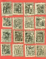 STAMPE- RELIGIONE - CRISTIANESIMO- LOTTO DI 16 PICCOLE STAMPE CM. 6 X 6 C.A. RITAGLIATE DA LIBRO PROBABILMENTE DEL 1600 - Vecchi Documenti