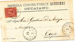 1892 OTTAVIANO  CARTOLINA COMMERCIALE PUBBLICITARIA IMPRESA COSTRUTTRICE - Italia