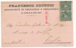 1899 CASALDUNI  CARTOLINA COMMERCIALE PUBBLICITARIA OREFICERIA OROLOGERIA - Italia