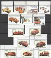 E537 1983,1985 NICARAGUA TRANSPORT FIRE TRUCKS 2SET MNH - Trucks