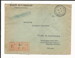 Lettre Recommandée Semeuse Yvert No 141 En Bande De 5 - Tarif étranger - Trésor Et Poste No 506 - 1921 - Constantinople - 1906-38 Semeuse Camée