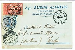1922 ORSARA DI PUGLIA  CARTOLINA COMMERCIALE PUBBLICITARIA VITI AMERICANE - Italia