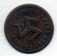 BRITISH ISLANDS - ISLE OF MAN, 1 Penny, Copper, Year 1733, KM #5 - Altri
