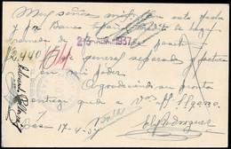 GUERRA CIVIL. 1937. BAZA A BARCELONA. TARJETA POSTAL FRANQUEO COMPLEMENTARIO. MARCA CONTROL UGT. TIMBRE. MUY RARA. - 1931-Heute: 2. Rep. - ... Juan Carlos I