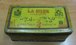 AC - LA ROSE No 3 BY LITSICA MARX & CO ENGLISH CIGARETTES - TOBACCO EMPTY VINTAGE TIN BOX - Schnupftabakdosen (leer)