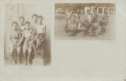 Siam .Real Photo Antonio Bangkok . Bangkok Girls And Group Of Natives Of Ratburee - Thaïland