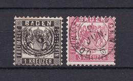 Baden - 1862/66 - Michel Nr. 17/18 - Gest. - 25 Euro - Bade
