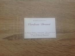 Carte De Visite De Restaurant   Verdeau  Drouot    Paris 9eme - Cartoncini Da Visita