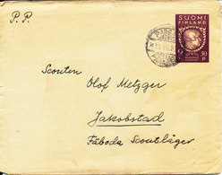 Finland Postal Stationery Pargas 11-7-1938 Sent To Jakobstad Scoutläger With A Letter Inside (a Repaired Tear At The Rig - Finlande