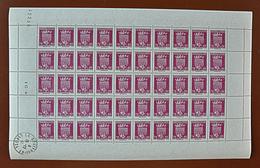 """Feuille Complète De 50 Timbres ARMOIRIES - 1941: 70c+80c """"Bordeaux"""" N° 529 - Full Sheets"""