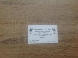 Carte De Visite De Restaurant   Restaurant Le Duc    Paris 9eme - Cartoncini Da Visita