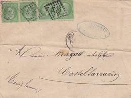 LETTRE. AVRIL 6 JANV 69. 4 X 5c N° 20. BORDEAUX POUR CASTELSARRAZIN - 1849-1876: Periodo Classico