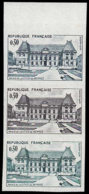 FRANCE   ** 1351 Bande De 3 Essais En Vert/noir/vert Clair, Bdf: Palais De Justice De Rennes - Essais