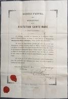 1865 Certificat De Reliquaire Relique Paray Le Monial - Religión & Esoterismo