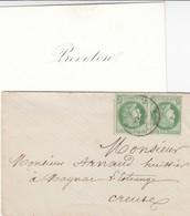 LETTRE AVEC CARTE DE VISITE. 6 JANVIER 1876. PAIRE N° 53. - Poststempel (Briefe)