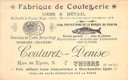 """CPA / CARTE DE VISITE FRANCE 63 """"Thiers, Fabrique De Coutellerie, COUTARET DENISE"""" - Thiers"""