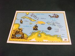 CARTA GEOGRAFICA MAP THE WEST INDIES CARABBEAN SEA ATLANTIC OCEAN  CUBA VELIERI MAP - Carte Geografiche