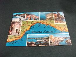 CARTA GEOGRAFICA MAP RIVIERA LIGURE  VEDUTE - Carte Geografiche