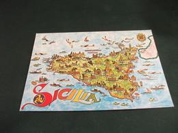 CARTA GEOGRAFICA MAP SICILIA - Carte Geografiche
