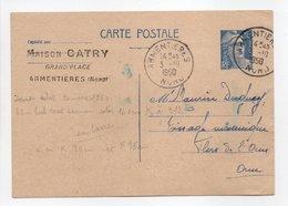 - Carte Postale MAISON CATRY, ARMENTIÈRES (Nord) Pour TISSAGES DUGUEY, FLERS (Orne) 3.10.1950 - - Entiers Postaux