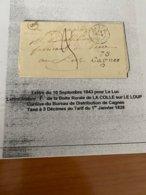 LETTRE DU 10/09 /1843 POUR LE LUC  ( Descritif Complet Voire Scan De La Lettre )  Port Offert - Marcofilie (Brieven)