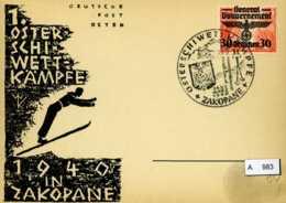DR, Generalgouvernement Sonderpostkarte Zakopane Osterschiwettkämpfe 1940 Mit SST 24/25.03.1940 - Occupation 1938-45