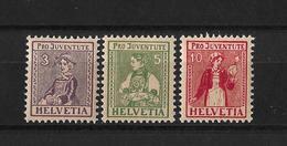 1917 PRO JUVENTUTE → Trachtenbilder (Walliserin, Unterwaldnerin, Tessinerin)      ►SBK-J7* Bis J9* / CHF 40.-◄ - Pro Juventute