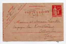 - CARTE-LETTRE PARIS Pour OLLIOULES (Var) 20.6.1934 - 50 C. Rouge Type Paix - - Biglietto Postale