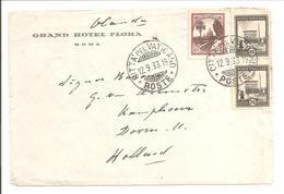 1933 Postal History Vaticane.75c+2x25c GRAND HOTEL FLORA ROMA - Vatican
