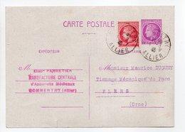 - Carte Postale MANUFACTURE PANNETIER, COMMENTRY Pour TISSAGES DUGUEY, FLERS 1.8.1946 - 1 F. 50 + 1 F. Cérès De Mazelin - Postales Tipos Y (antes De 1995)