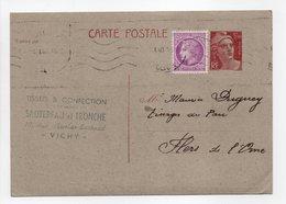 - Carte Postale TISSUS & CONFECTION SAUTEREAU Et TRONCHE, VICHY Pour TISSAGES DUGUEY, FLERS 6.1.1948 - - Standard Postcards & Stamped On Demand (before 1995)