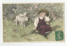 Cpa Mm Vienne M.munk Nr 568 Moutons Fillette Mouton  Illustrée Printed In Austria - Vienne