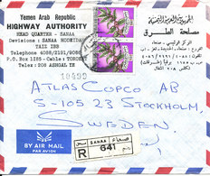 Yemen Registered Air Mail ,cover Sent To Sweden Sanaa - Jemen