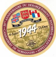 ETIQUETTE FROMAGE CAMEMBERT -  SPECIAL 50E ANNIVERSAIRE  D-DAY -   Fab En NORMANDIE  Calvados 14 - Cheese