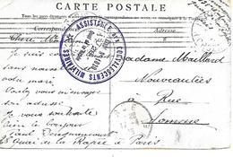 75-cachet Hôpital-Assistance Aux Convalescents Militaires-Etablissement N°1020 à Paris Sur CP En 1915-très Rare - WW I