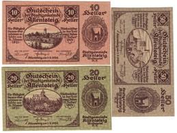Austria Notgeld Lot / Set - ALLENTSTEIG X 3 - Austria