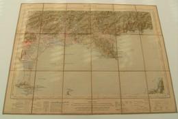 Carte  Toilée Tissu Hyères Service Des Armées 1925 - Cartes Géographiques