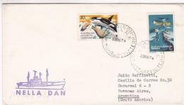 AUSTRALIAN ANTARCTIC TERRITORY ENVELOPE, CIRCULATED 1974. BENGUELA TO BUENOS AIRES, ARGENTINA. NELLA DAN -LILHU - Territorio Antártico Australiano (AAT)