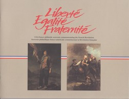 FRANCE - USA-FRANCE PHILATELIC SOUVENIR COMMEMORATING FRENCH REVOLUTION- BOOKLET 8P.  /TBS - Documenten Van De Post