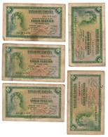 Spain Lot 5 X 5 Pesetas 1935 - [ 2] 1931-1936 : Repubblica