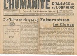 Humanité Alsace Lorraine 1944- B3719- ( Edition,  Date , Contenu ,  état ... Scan)-Envoi Gratuit - Documenti