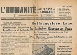 Humanité Alsace Lorraine 1945- B3719- ( Edition,  Date , Contenu ,  état ... Scan)-Envoi Gratuit - Documenti