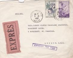 MAROC, CIRCULATED 1982. CASABLANCA TO LONDON, ENGLAND. EXPRESS FEE PAID -LILHU - Marokko (1956-...)