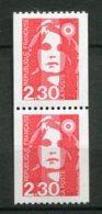 16408 FRANCE N°2628/8a** 2F30 Rouge Marianne Du Bicentenaire Paire Avec N° Rouge 420   1990  TB/TTB - Roulettes