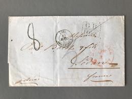 France, Marque D'échange GB 1F60c + Ambulant ANGL. AMB CALAIS - 1857 - (B1866) - 1849-1876: Klassik
