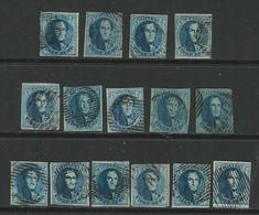 BELGIO  - Re Leopoldo I - 1851 / 61  - N. 7 E 11  Usati , Multipli - Cat. 260 € - Lotto N. 622 - 1858-1862 Medaillons (9/12)