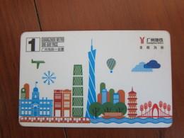 Guangzhou Metro One-day Pass Card, Hot Balloon And City Landmarks - Telefonkarten