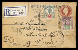 "GREAT BRITAIN. 1907. London EC112 To Bruges/Belgium. Regist.stta.env.+ 2 Adtls + ""late Feee2d"" Mark. Ships PERFIN. Fine - Gran Bretaña"