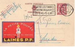 Publibel - 779 - LA PETITE POUPEE - LAINES P.F. - PELZER - NATOYE - NAMUR - LUSTIN - 1949. - Entiers Postaux