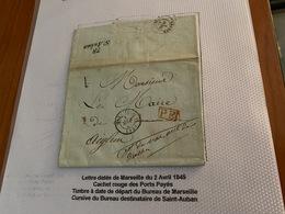 LETTRE  Datée De  MARSEILLE Du 2/04/1845  ( Descritif Voire Scan De La Lettre ) - Port Offert - Postmark Collection (Covers)